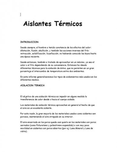 Documento aislantes t rmicos - Comparativa aislantes termicos ...
