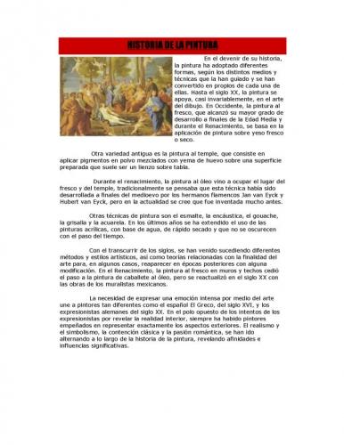 documento breve resumen de la historia de la pintura