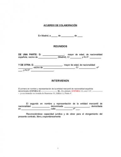 Documento contrato colaboracion for Contrato documento