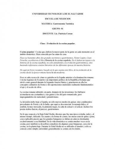 Documento evolucion de la cocina popular grupos for La cocina popular