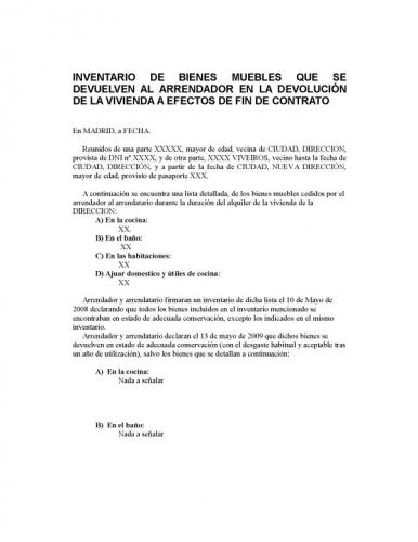 Modelo Contrato De Alquiler O Arrendamiento De Vivienda