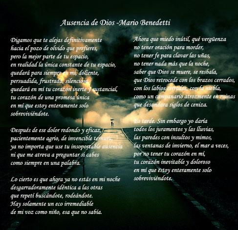 Imagen Ausencia de Dios - Poema de Mario Benedetti - grupos ...