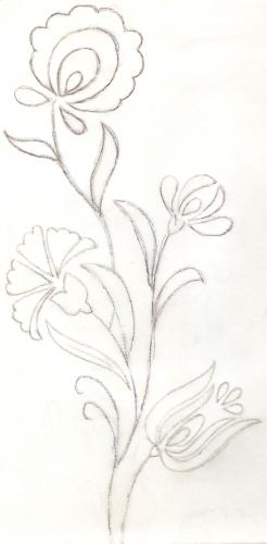 El dibujo del individual de arpillera bordado en lana