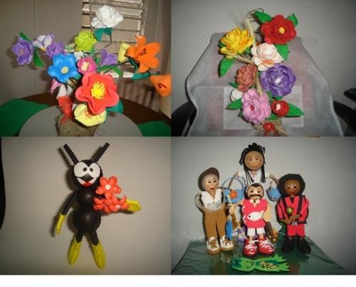 Imagen Flores e bonecas goma eva - foamy - grupos.