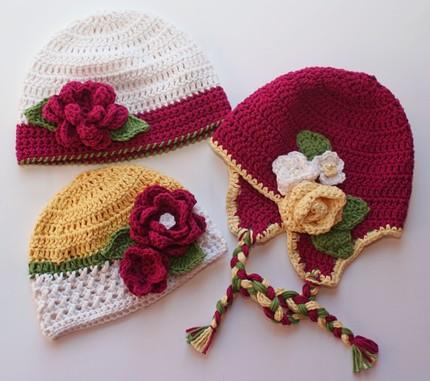 ... de Tejer > Imagenes de tres tipos de gorros crochet