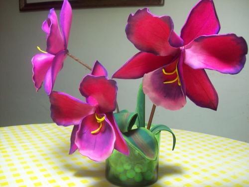 Patron de orquideas en foami - Imagui