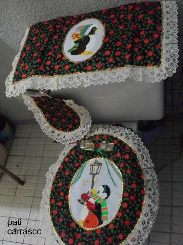 Juegos de ba o navidenos en tela for Juego de artefactos de bano